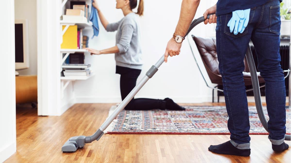 Vacuum the hardwood floor